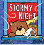 Bear, Floppy, and Bear's Mom and Dad brave a loud and stormy night.